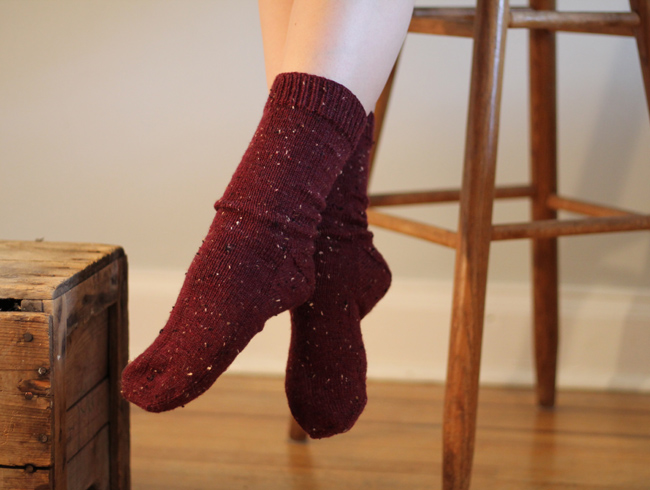 Red tweed socks