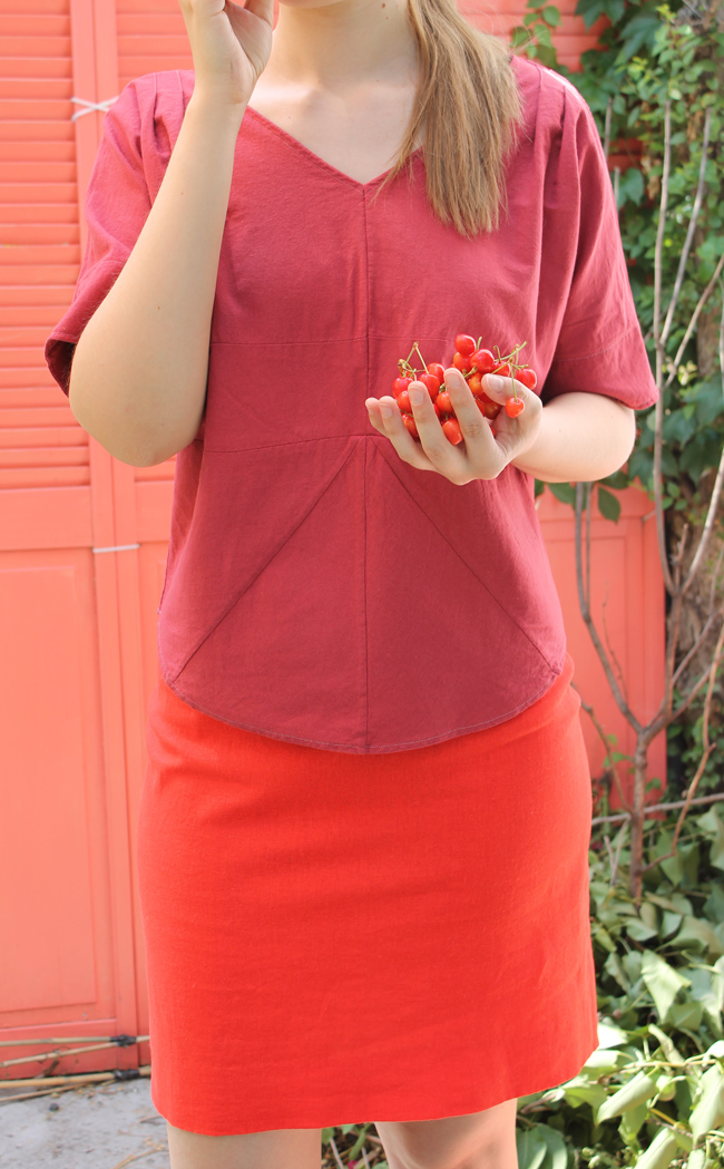 Raspberry linen top with cherries