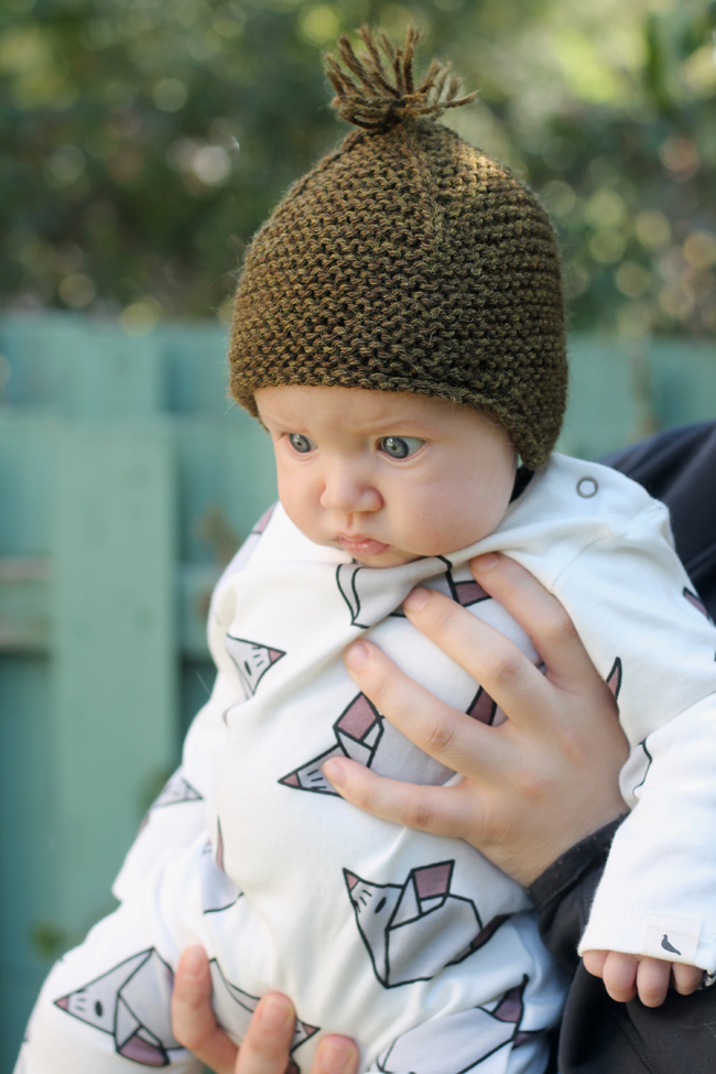 baby wearing purl soho toque